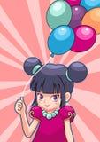 Cute girl. Cute little girl and balloo stock illustration