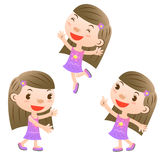 Cute girl. Showing,pointing and jumping Royalty Free Stock Images