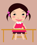 A cute girl. Eat her luch Royalty Free Stock Images