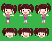 Cute girl actions. Vector cute girl look smart many actions Stock Photo