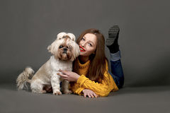 Cute girl with adorable Shih-tzu dog on dark background. Cute brunette girl in yellow with adorable Shih-tzu dog on dark background in studio royalty free stock photo