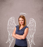 Cute girl with angel illustrated wings Stock Images