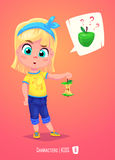 Cute girl with apple. Back to school illustration Royalty Free Stock Photo