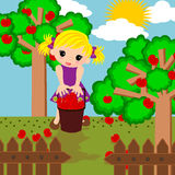 Cute girl in apple farm cartoon Royalty Free Stock Photo