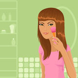 Cute girl applying make-up. Cute vector girl applying make-up to her face using a brush Stock Photography