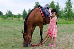 Cute girl with arabian horse Stock Images