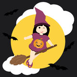 Cute girl as witch and bat on night sky background  cartoon, Halloween postcard, wallpaper, and greeting card Stock Photo