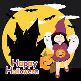 Cute girl as witch, ghost and pumpkin on night castle background  cartoon, Halloween postcard, wallpaper, and greeting card Stock Photos