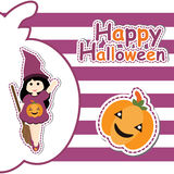 Cute girl as witch and pumpkin on striped background  cartoon, Halloween postcard, wallpaper, and greeting card Stock Photo