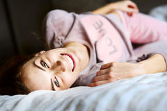 Cute Girl At Bedroom Look At The Camera Stock Photos