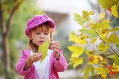 Cute girl in autumn park Stock Photos