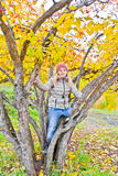 Cute girl in autumn sit on tree Stock Photography