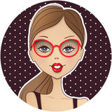 Cute girl avatar icon. Young woman face. Cartoon illustra vector illustration