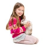 Cute girl  with baby rabbit Stock Photo