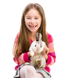 Cute girl  with baby rabbit Stock Photography