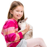 Cute girl  with baby rabbit Stock Photos