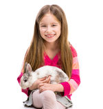 Cute girl  with baby rabbit Stock Images