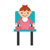 Cute girl baby sitting on chair avatar character Stock Photos