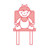 Cute girl baby sitting on chair avatar character Stock Images