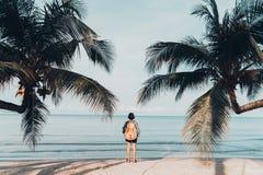 Cute girl backpack and travel
