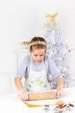 Cute girl baking cookies Royalty Free Stock Photo
