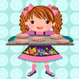 Cute girl baking cookies cartoon Stock Images