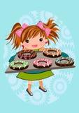 Cute girl baking doughnut cartoon Royalty Free Stock Image