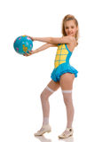 Cute girl with ball in her hands stock photography