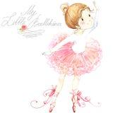 Cute girl. Ballerina. Cute ballerina girl. Ballerina watercolor. Illustration. Greeting card for ballerina stock illustration