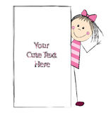 Cute girl with banner Stock Photo