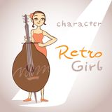 Cute girl with bass in retro style. Vector Stock Photo