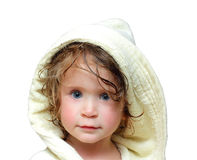 Cute girl in bathrobe portrait. 2 years old Stock Photos
