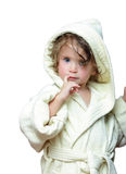 Cute girl in bathrobe portrait. 2 years old Stock Images