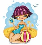 Cute girl at the beach. Vector image of cute girl at the beach Stock Photo