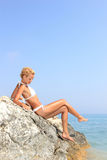 Cute girl on the beach Royalty Free Stock Images