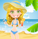 Cute girl on the beach with a sunglasses Royalty Free Stock Images