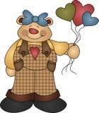 Cute Girl Bear holding Heart Shaped Balloons. A Cute image of a Girl Bear holding Heart shaped like Balloons royalty free illustration