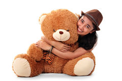 Cute girl bear hug Royalty Free Stock Photo