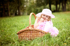 Cute girl in a beautiful dress in a basket in a summer pa Royalty Free Stock Photos