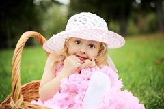 Cute girl in a beautiful dress in a basket in a summer pa Stock Photography