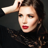 Cute Girl. Beautiful Makeup and Hairstyle Royalty Free Stock Photo