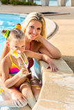 Cute girl and beautiful mother at the pool Stock Images