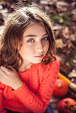 Cute girl in beautiful park in sunny day Stock Photos