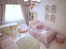 Cute girl bedroom with soft furniture Stock Photo