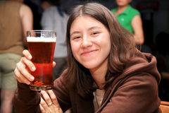 Cute Girl with Beer Royalty Free Stock Photos