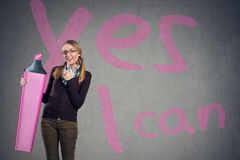 Cute girl believe in yourself stock photography