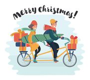 Cute girl on bicycle with dog caring christmas tree and colorful gift boxes. Vector cartoon illustrartion of cute family couple. Woman ride on tandem bicycle Royalty Free Stock Photos