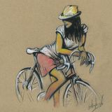 Cute girl on a bicycle. drawing by hand Royalty Free Stock Photography