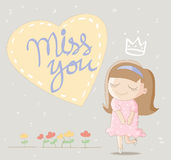 Cute girl with big heart and lettering miss you. Cute cartoon illustration / EPS 10 Stock Photography