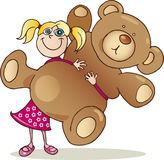 Cute girl with big teddy bear. Cute happy girl with huge teddy bear Royalty Free Stock Photo